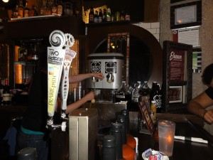 My server pouring my mug of root beer from their root beer tap. The classic this time.