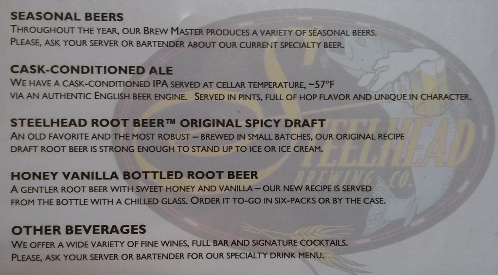 The menu, proving this to be a different recipe than the bottled brew.