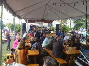 The festive beer garden. I wonder if Death Cab ever played here ... Notice the hula hooping girls on the left.