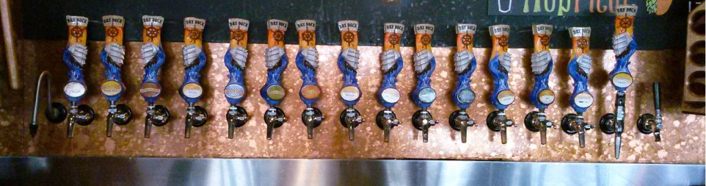 The Dry Dock Brewing Company Taps. The root beer is the sad one without a pretty label.