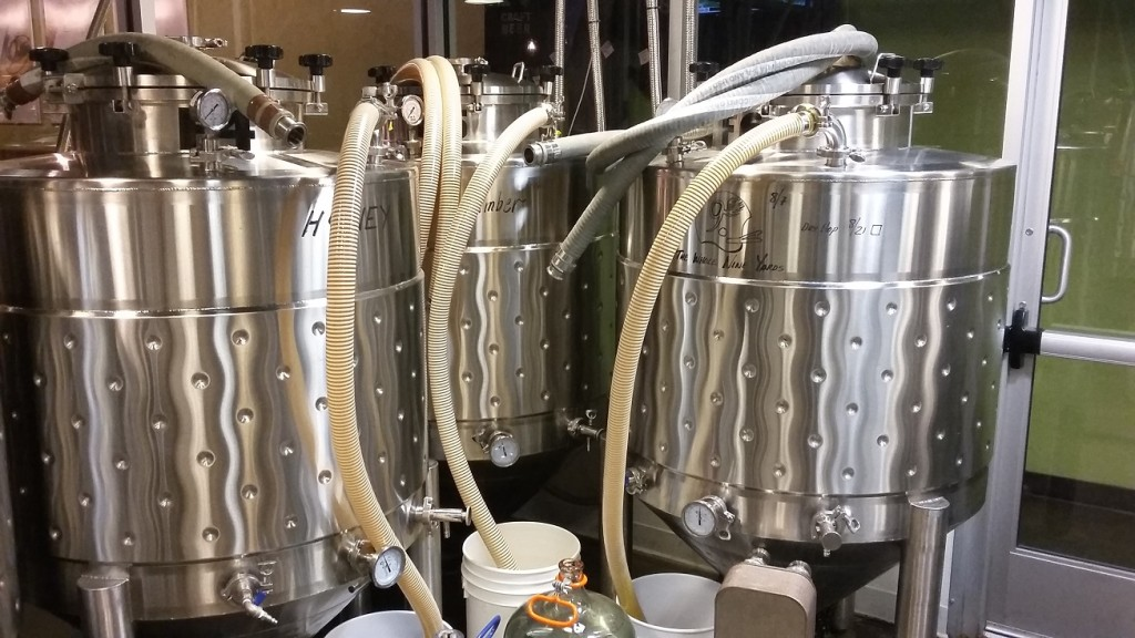 Some of the brewing vats at Cloud Nine Brewery.