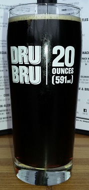 A glass of Dru Bru Root Beer