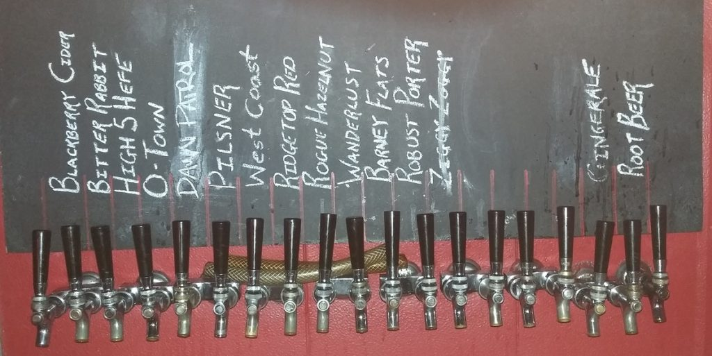 The taps including the root beer at the far right.