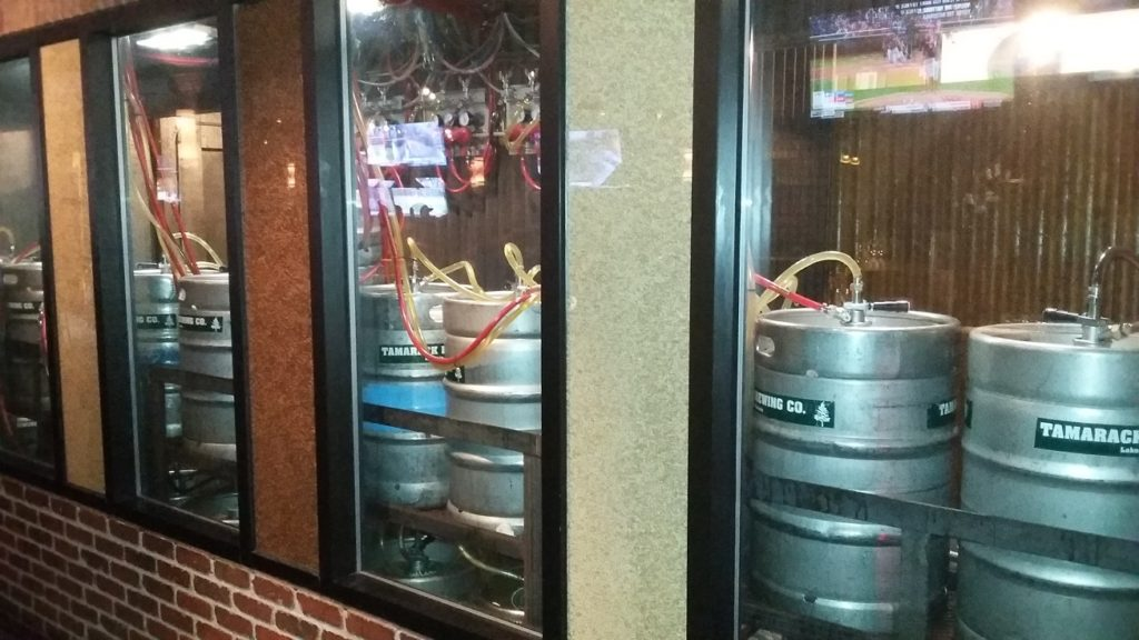 A look back to the kegs they tap into for the bar.