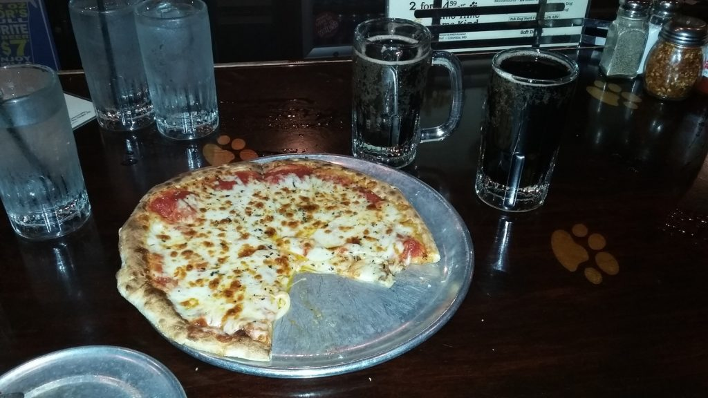 My Pizza, 2 mugs of root beer and 3 of my 4 mugs of water.