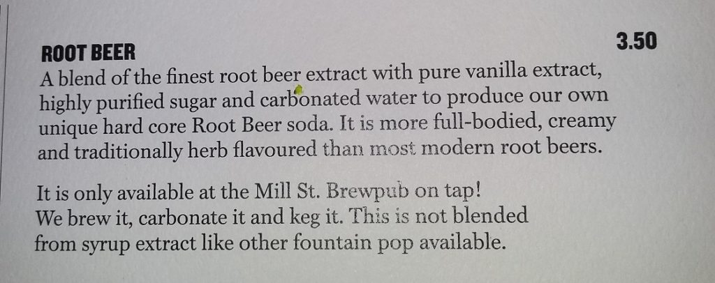 Mill Street Root Beer Description
