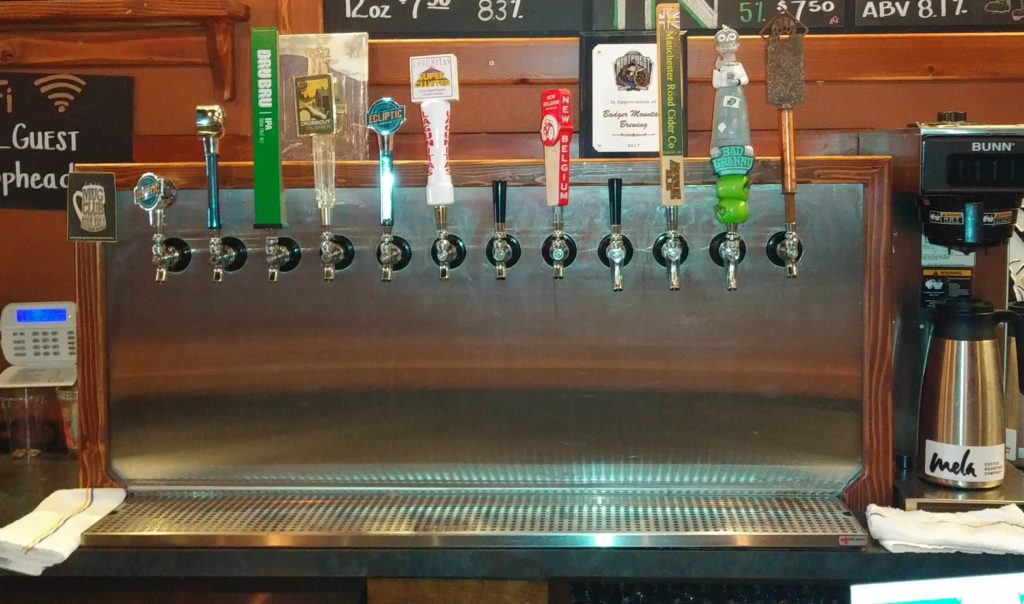 The Badger Mountain Brewing Taps.