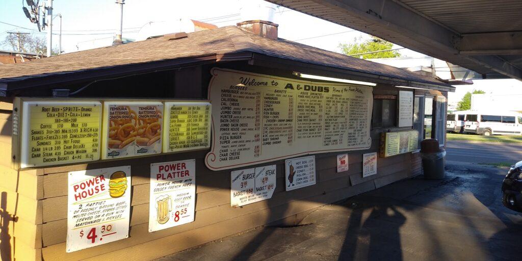 The A & Dubs menu